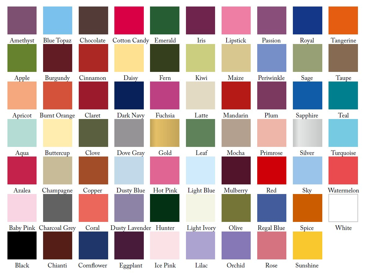 Wedding dress chart wedding gown size chart vosoi comcrystal bridesmaid dress colour chart ombrellifo Image collections